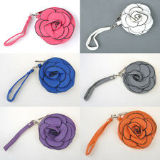 Korean Cute Camellia Rose Round PU Clutch Women Cell Change Purse Cross Body Bag