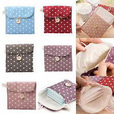 Polka Dot Sanitary Napkin Bags Cotton Pouch Purse Pad Holder Handbag Girls Gift