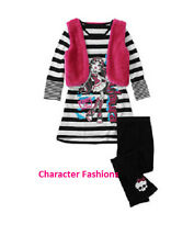 MONSTER HIGH 6 6X 7 8 10 12 14 16 Girls OUTFIT Tunic Top Shirt Leggings Fur Vest