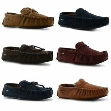 New Mens Dunlop Real Leather Suede Moccasin Winter Slipper Shoes Size UK 7-11
