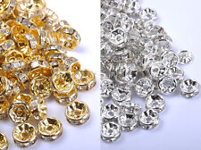 4,5,6,7,8,10,12MM GOLD & SILVER Czech Crystal Rhinestone Rondelle Spacer Beads