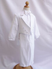 BOY COMMUNION WHITE TUXEDO WITH TAIL FORMAL SUIT BAPTISM RING BEARER ALL SIZE