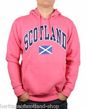 Scotland Saltire Flag Unisex Hooded Top, Long Sleeve, Fuschia Pink, All Sizes