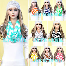 Chevron Infinity Zig Zag Stripe Jersey Knit Chunk Circle Double Loop Scarf Wrap
