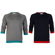 JACK & JONES MENS NATE O-NECK CONTRAST LONG SLEEVE KNITTED JUMPER TOP SIZE S-XXL