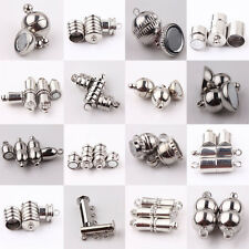 10Set Strong Magnetic Clasps  Silver Plated Tube Barrel Round Jewelry Finding