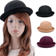 Retro Women Men Lady Wool Fold Brim Bowler Derby Top Hat Billycock Cap Cloche