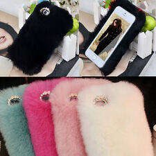 Luxury Winter Warm Soft Rabbit Fur Hair Back Case Cover For iPhone 4 4G 4S 5 5S