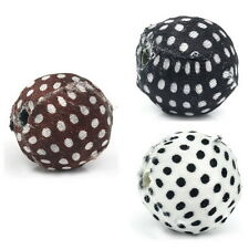 20PCs Acrylic Round Ball Beads Covered In Fabric Polka Dots M2157