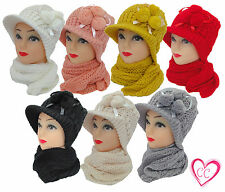 Womens Baker Boy POM POM Hat Scarf Set Ladies Knitted Hat Scarf Set 7 Colours