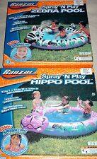 New Banzai Spray and Play inflatable Pool Hippo or Zebra design yard water kids