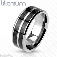 GREAT MENS SOLID TITANIUM SILVER BLACK CARBON FIBER INLAY WEDDING BAND RING 8MM