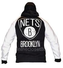 ADIDAS NEW YORK BROOKLYN NETS NBA FLEECE MENS TRACK TOP HOODY JACKET BLACK WHITE
