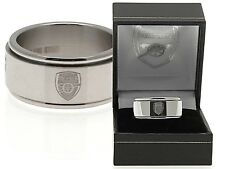 ARSENAL FC CLUB CRESTED STAINLESS STEEL SPINNER BAND RING COMPLETE IN GIFT BOX