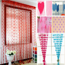 Home Room Door Window Drapes Loving Heart Pattern Tassel String Curtain Decor