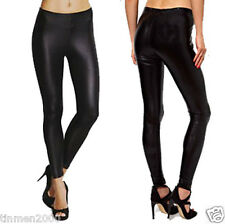 Womens Ladies Wet Look Leggings Black Shiny Skinny Fit Leggings Pants Trousers