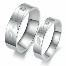 Stainless Steel Love Crystal Silver Colour Mens Women Lover Couple Ring Set