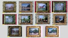 dolls house miniature 1:12  paintings gold frame country scenes 11 to choose.