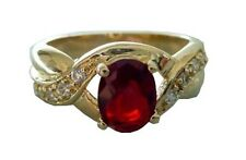 New 24KT Gold Plated Ladies Ruby Red CZ Ring-Sizes 5-12 Lifetime Warranty