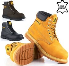 NEW MENS NUBUCK LEATHER SAFETY WORK HIKER BOOTS STEEL TOE CAP ANKLE SHOES SIZES