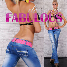 NEW SEXY WOMENS DISTRESSED JEANS 6 8 10 12 14 LOW RISE HOT BOOT LEG DENIM PANTS
