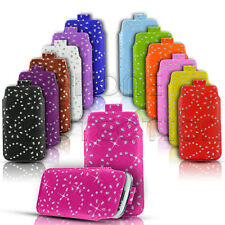 DIAMOND BLING LEATHER PULL TAB SKIN CASE COVER POUCH FITS VARIOUS LG MOBILES