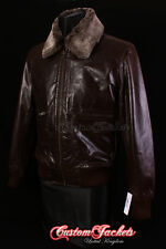 Men's COCKPIT Brown FUR COLLAR Jet Fighter Bomber Pilot Short Leather Jacket