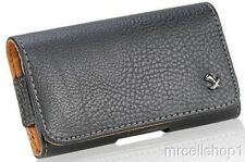 New Luxmo Horizontal Black Leather Belt Clip Holster Pouch Case for Cell Phones