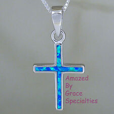 New! Sterling Silver OPAL INLAY Cross Pendant with Sterling BOX CHAIN!