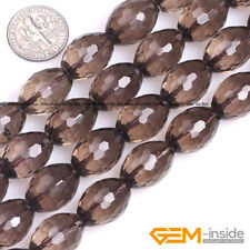 "Natural Smoky Quartz Faceted Olivary Beads For Jewelry Making 15""12x16mm 13x18mm"