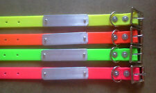 25mm x 50cm Dog collar with name plate PVC webbing 4 colors hound hunt h/duty