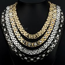 6/8/11mm MENS Chain Silver Tone Flat Byzantine Stainless Steel Necklace Bracelet