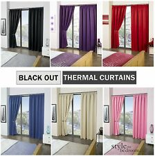 Thermal BLACKOUT Plain Curtains to Block Sunlight in 6 Colours & 8 Sizes