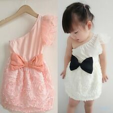 Kids Girls Bow-knot One Shoulder One Piece Dress Lace Skirts Costume Child 1-7T