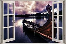 Huge 3D Window Enchanted River Sky View Wall Stickers Film Mural Art Decal