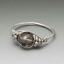 Smoky Quartz Faceted Bali Sterling Silver Wire Wrapped Bead Ring ANY size