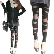 Girl Lady Fashionable Ripped Cut-Out Bandage Style Trousers Leggings Capris B82U