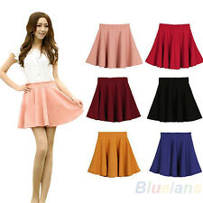 WOMENS CANDY COLOR STRETCH WAIST PLEATED PLAIN SKATER FLARED MINI SKIRTS B84K