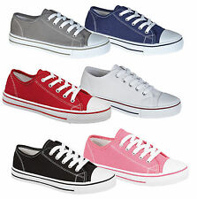 NEW BOYS GIRLS KIDS YOUTHS FLAT CASUAL LACE UP CANVAS PLIMSOLL PUMP SHOES