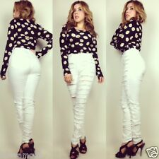 High Waist Destroyed Ripped White Jeans All Sizes NWT Made in USA