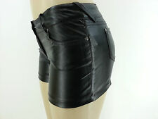 BLACK FAUX LEATHER SHORTS VEGAN PLEATHER HOT SEXY MINI SHORTS PUNK CLUBBING