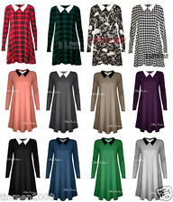 WOMENS LONG SLEEVE PETER PAN PLAIN STRETCHY LOOSE JERSEY SWING PLUS SIZE DRESS.