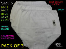 NEW 3 PAIRS LADIES COTTON/ LYCRA FULL BRIEFS SIZES BLACK WHITE ASSORTED KNICKERS