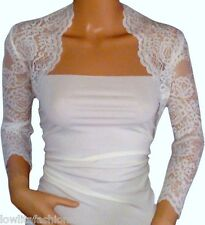 Ladies pale Ivory/Black Lace Bridal  Bolero/Shrug/Jacket Sizes 8 10 12 14 16 18