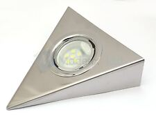 LED Triangle Chrome Kitchen Under Cabinet Cupboard Light Set/Kit