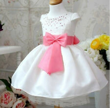 New Girls Beaded Bow Wedding Christening Pageant Dress Dance Party Costume