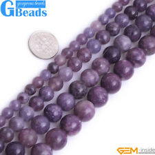 Purple Lepidolite Gemstone Round Beads For Jewelry Making Free Shipping 15""
