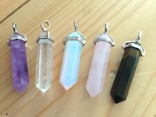 CRYSTAL GEMSTONE POINT PENDANT SILVER PLATED NEW AGE JEWELLERY HEALING