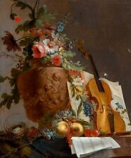 "Jean-Jacques Bachelier : ""Still Life with Flowers and Violin"" — Fine Art Print"