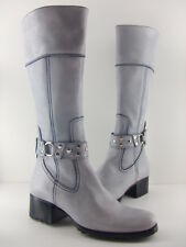 Oh! Michelle Women's White Leather Berlin Knee-High Boots 60% Off! Size 6 8 10